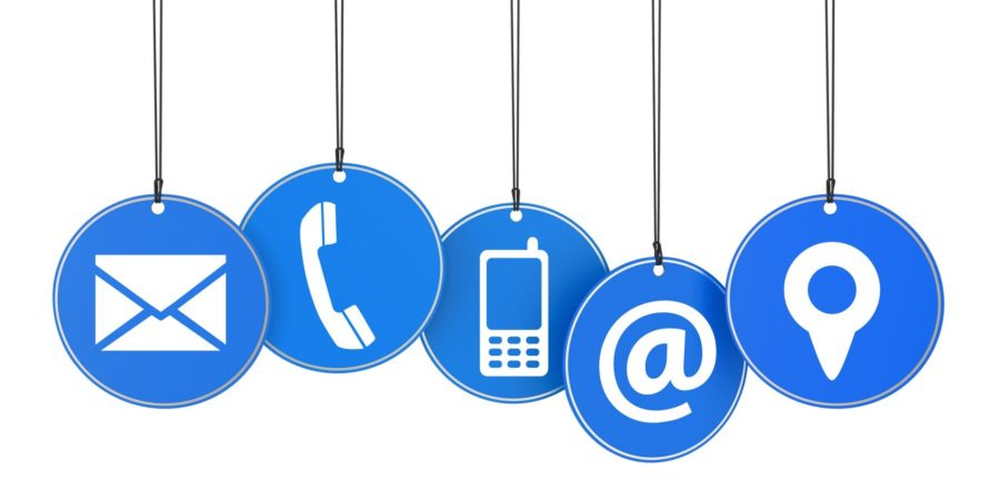 20923280 - website and internet contact page concept with icons on blue hanged tags isolated on white background